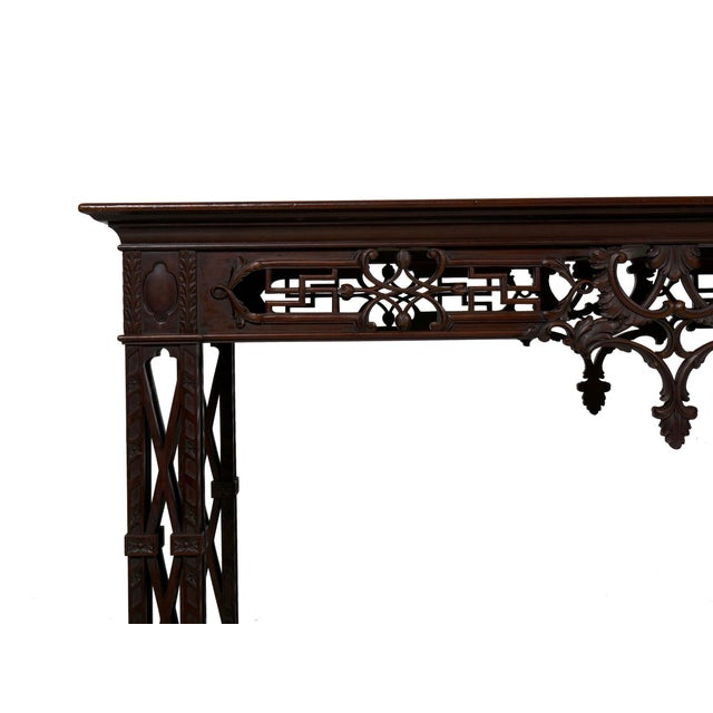 Brown Carved Mahogany English Antique Library Console Table For Sale - Image 8 of 13