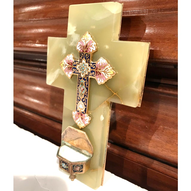 19th Century French Green Marble Cross and Holy Water With Cloisonné Technique For Sale In Dallas - Image 6 of 7
