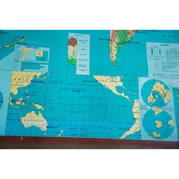 Vintage 60s Costello Pull Down Map of World - Image 7 of 9