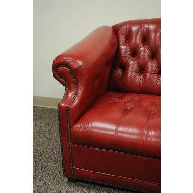 English Vintage Red Leather English Chesterfield Style Button Tufted Sofa by Jasper For Sale - Image 3 of 11