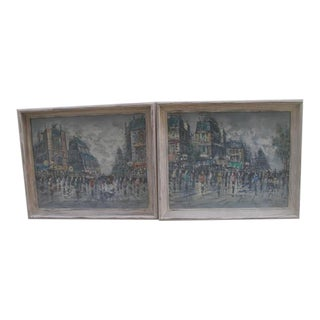 Mid 20th Century French Cityscape Oil Paintings, Framed - a Pair For Sale