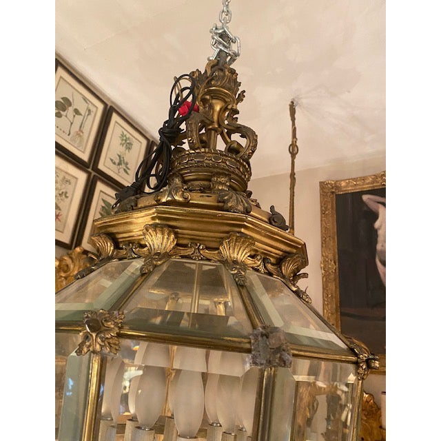 1900s Antique French Bronze 6 Light Lantern With Lion Motif For Sale In Los Angeles - Image 6 of 9