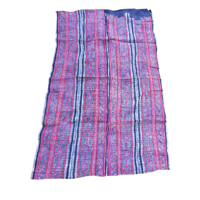Batik Embroidered Linen Throw - Image 1 of 3