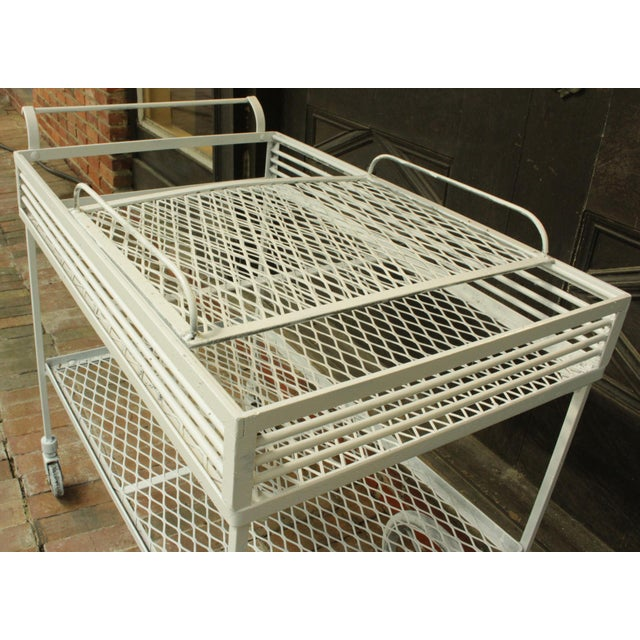 Metal 1940s Vintage Wrought Iron Patio Bar Cart For Sale - Image 7 of 10