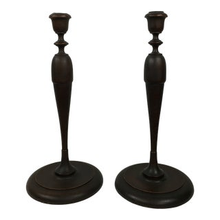 Early 20th Century Americana Turned Wood Candlesticks - a Pair For Sale
