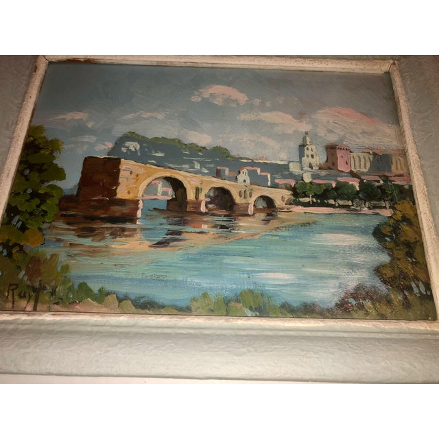 French Antique French Painting of the Avignon Bridge For Sale - Image 3 of 7