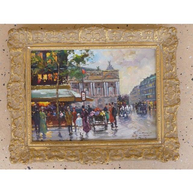 Modern 1950s Vintage Francois Gerome Parisian Scene Paintings - A Pair For Sale - Image 3 of 12
