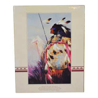 Vintage Native American Inspired Figure Poster For Sale