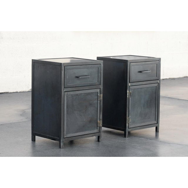Pair of industrial yet sleek lowboy steel cabinets by Rehab Vintage Interiors, Los Angeles. Designed in the spirit of the...