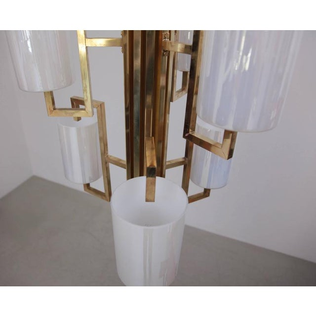 One of Two Extraordinary Huge Brass and Iridescent Glass Chandeliers For Sale - Image 4 of 7