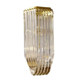 1950s Mid Century Modern Swag Lucite Brass Ribbon Chandelier Light For Sale