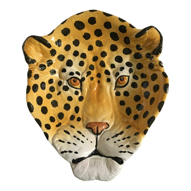 Italian Mid-Century Hollywood Regency Handcrafted Pottery Spotted Leopard Dish/Catchall For Sale