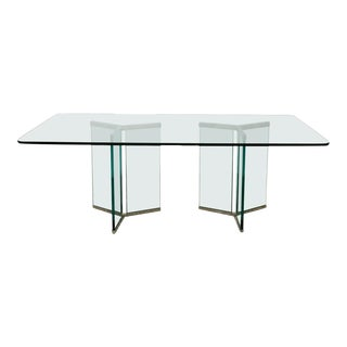 1970s Mid Century Authentic Pace Collection Glass Dining Table For Sale