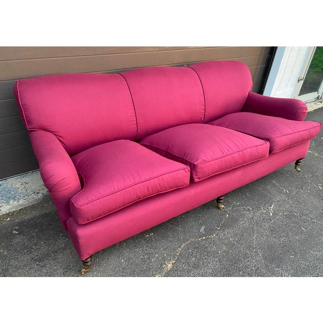 """This Standard Arm sofa is in very good condition. The sofa had a """"DIY"""" reupholstery and even though was done well, likely..."""