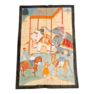 Large Indian Mughal Style Painting on Cloth For Sale