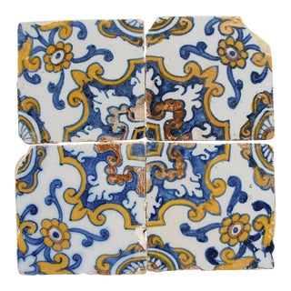 17th Century Floral Baroque Tiles - Set of 4 For Sale