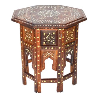 Anglo-Indian Bone Inlaid Wood Side Table For Sale