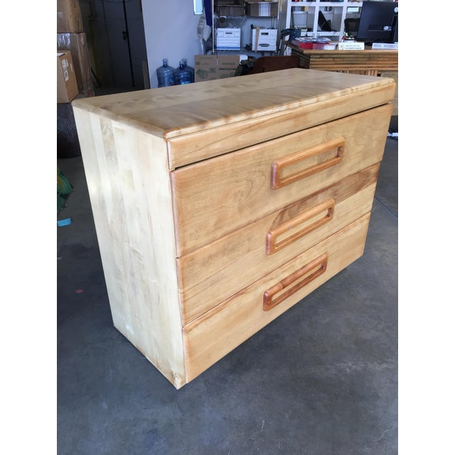 "Yellow Heywood Wakefield Blond ""Encore"" Birch Lowboy Dresser For Sale - Image 8 of 8"