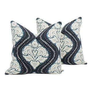 Blue Linen Blend Batik Ogee Pillows, a Pair For Sale