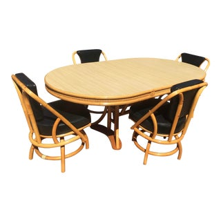 Vintage Rattan Dining Table and Chairs - 5 Pieces For Sale