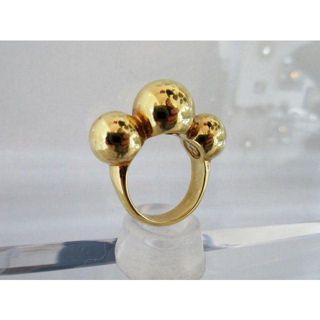 """Vintage 14K gold ring with three ball motif stamped, """"Italy 14K"""". Circa: 20th Century Due to the unique nature of this..."""