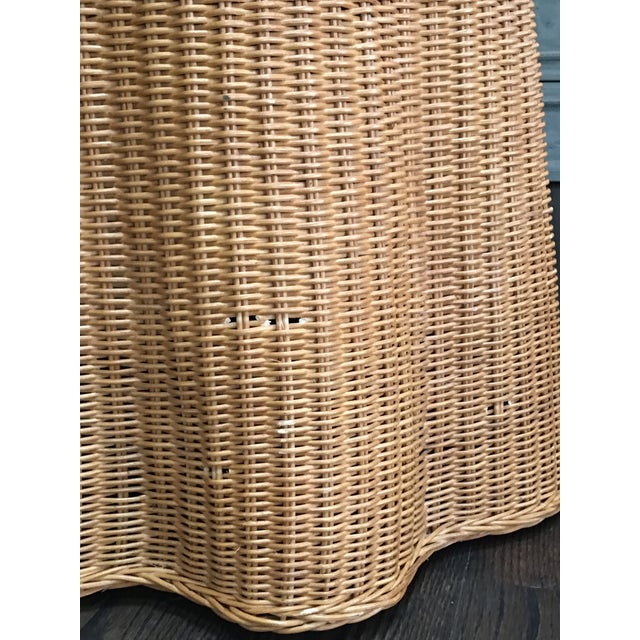 1970s Boho Chic Trompe l'Oeil Draped Wicker Rattan Ghost Table For Sale - Image 10 of 11