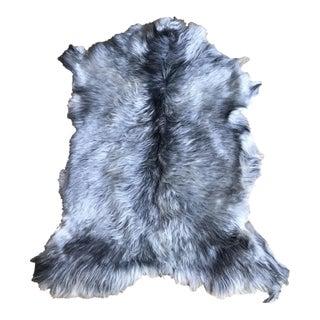 Modern Gray Angora Goatskin Throw - 2′7″ × 3′9″ For Sale