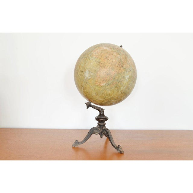 Early 20th C French Antique Globe Terreste With Cast Iron Base For Sale In Phoenix - Image 6 of 6