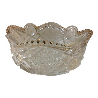 Mid Century Textured Glass Bowl With Gold Highlights For Sale