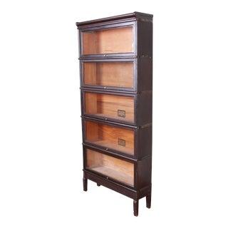 Globe-Wernicke Antique Five-Stack Dark Oak Barrister Bookcase, Circa 1920s For Sale