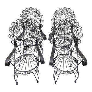Vintage Salterlini Style Wrought Iron Patio Chairs- Set of 4 For Sale