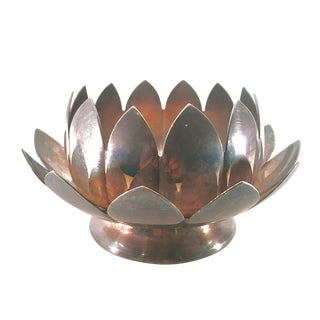 1950s Reed & Barton Silverplate Water Lily Lotus 2 Piece Layered Centerpiece #3002 For Sale