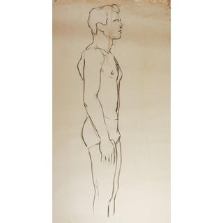 Line Drawing Male Figure Study 1950's For Sale