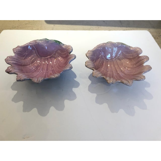 Incredibly pretty pair of Majolica clam shell bowls each in a lovely shade of pink, having undersides in green, white and...