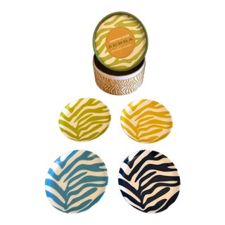 Jonathan Adler Zebra Porcelain Coasters - Set of 4 For Sale