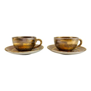 Vintage Stangl Pottery Gilt Coffee Cups & Saucers - Set of 4 For Sale