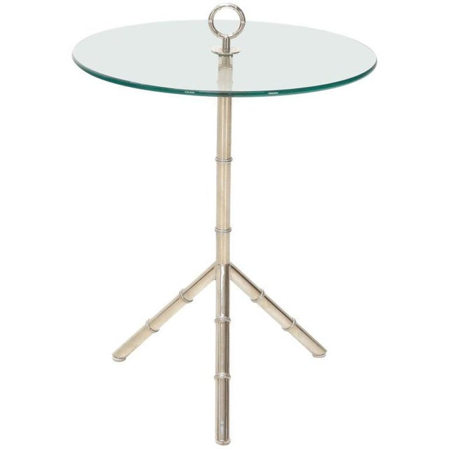 Circular Glass Top Heavy Solid Nickel-Plated Accent Side Center Occasional Table For Sale - Image 13 of 13