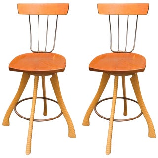Brad Smith Ax & Pitchfork Counter Stools -- A Pair