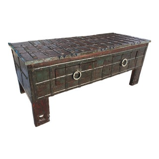 Anglo Indian Teak Iron Clad Dowry Chest / Coffee Table For Sale