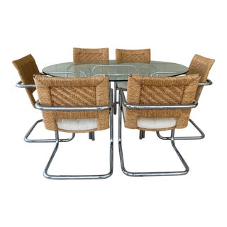 Mid-Century Rattan Back Chrome Craft Dining Set - 7 Pieces For Sale