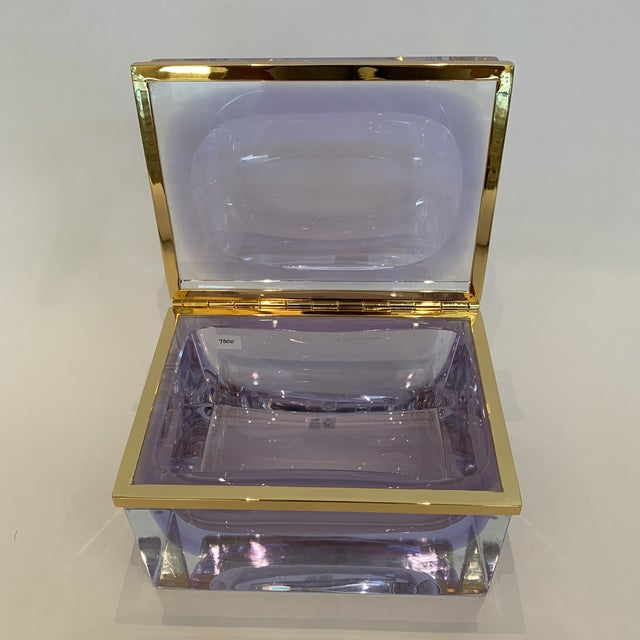 21st Century Murano Lavender Giant Crystal Jewel Box by Mandruzzato For Sale In Los Angeles - Image 6 of 10