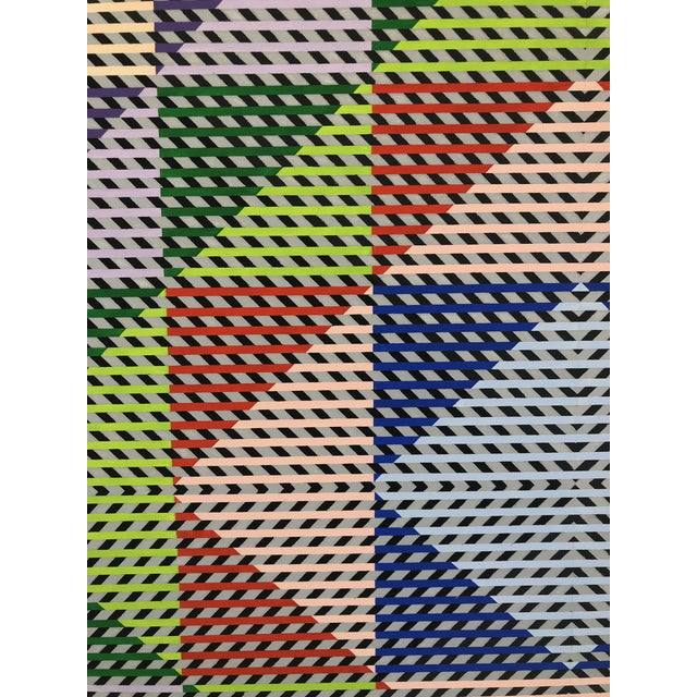 1980s Gabe Silverman Abstract Op Art Painting on Canvas For Sale - Image 4 of 10