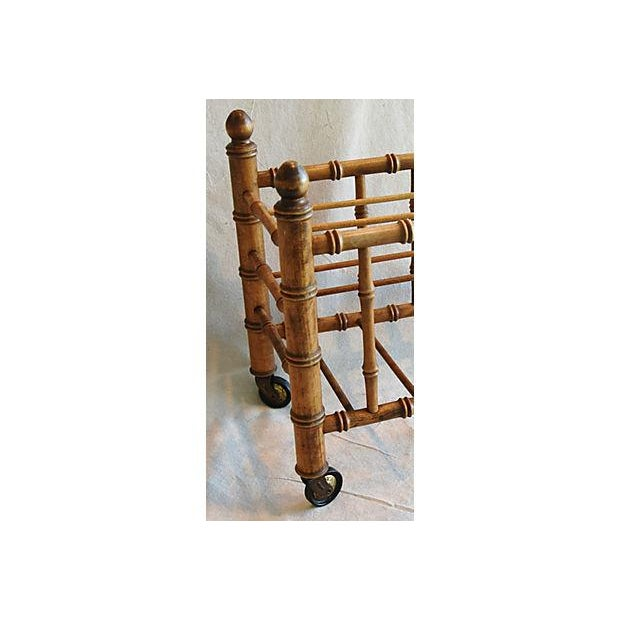 1920s Carved Wooden Bamboo-Style Magazine Rack Holder - Image 10 of 11