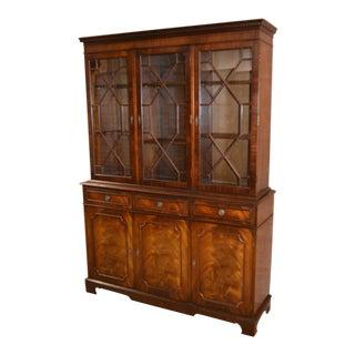 Vintage Thomasville English Edwardian Style Mahogany Three Door China Cabinet - 2 Pc.