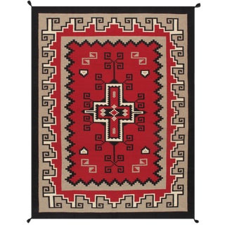 Navajo Style Wool Area Rug - 9′ × 11′10″ For Sale