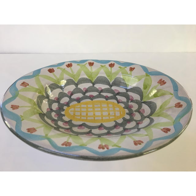 Boho Chic MacKenzie-Childs Hand Painted Dish / Catchall in King Ferry Pattern For Sale - Image 3 of 11
