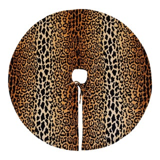 """Custom Tailored X-Large 55"""" Leopard Spot Velvety Christmas Tree Skirt"""