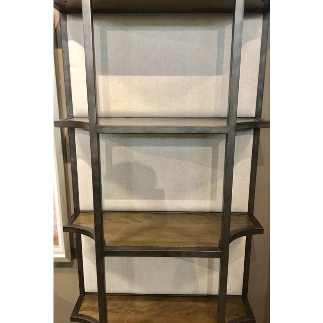 Contemporary Organic Modern Sojourn Linen Back Etagere For Sale - Image 3 of 5