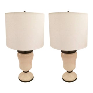Crackle Glazed Ceramic Lamps With Custom Shades - A Pair