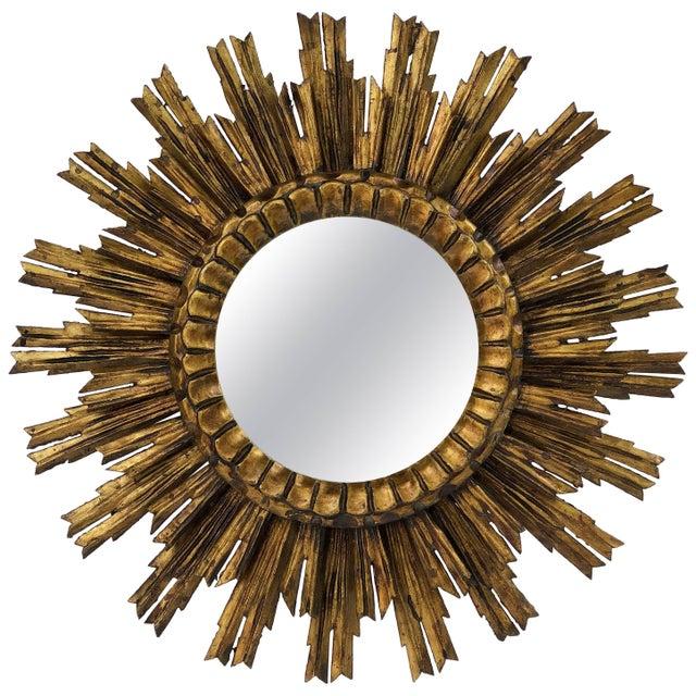 French Gilt Starburst or Sunburst Mirror (Diameter 24) For Sale - Image 9 of 9